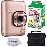 Fujifilm Instax Mini LiPlay Hybrid Instant Camera (Blush Gold) + Fujifilm Instax Instant Film (20 Shots) + Compact…