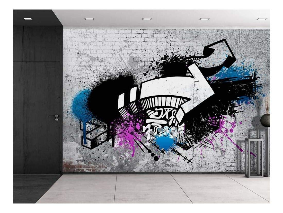 Amazon com wall26 colorful graffiti large wall mural removable peel and stick wallpaper home decor 100x144 inches home kitchen