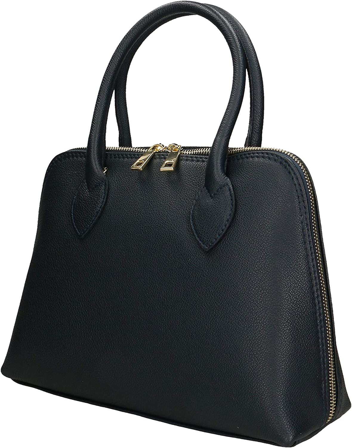 Chicca Borse Borsa a Mano Donna in Pelle Made in Italy 31x22x10 Cm Blu