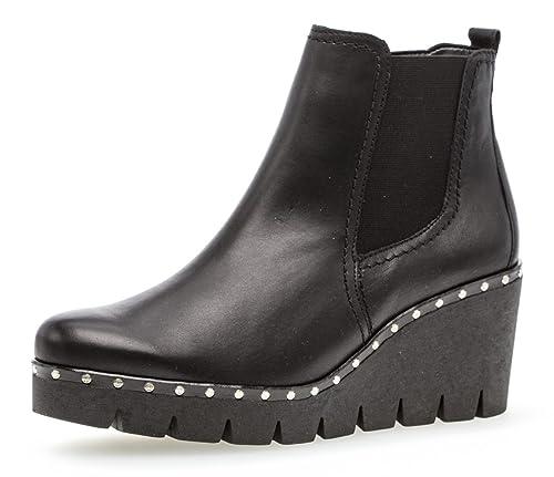 Gabor Damen Keilstiefeletten 93.785,Frauen Stiefel,Boots,Halbstiefel,Wedge Bootie,Nieten,Blockabsatz 5cm,F Weite (Normal)