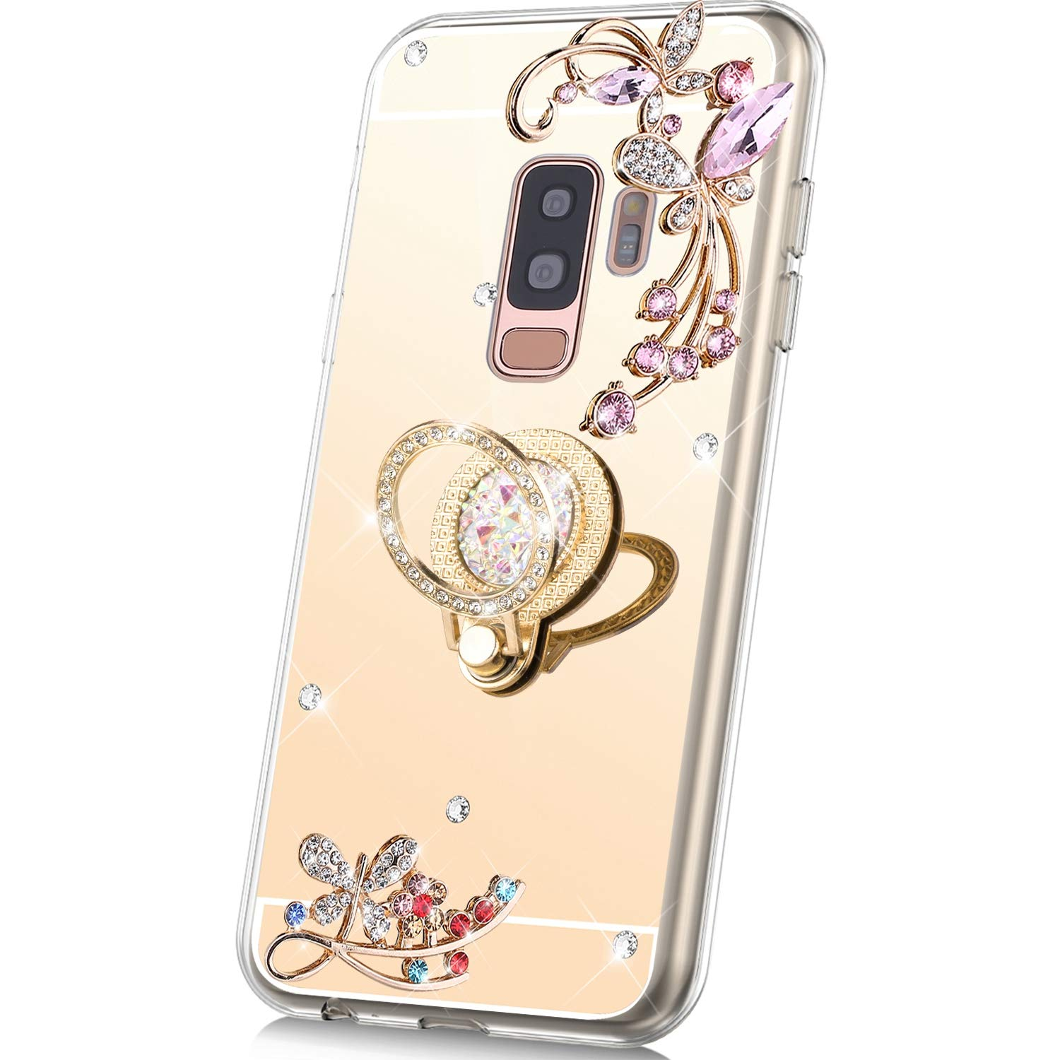 PHEZEN Case for Samsung Galaxy S9 Plus Mirror Case,Bling Glitter Flowers Sparkle Rhinestone Mirror Back TPU Silicone Case Cover with Ring Kickstand Diamond Crystal Case for Galaxy S9 Plus,Gold by PHEZEN