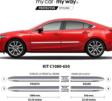 Fits Mazda 6 Sedan 2014-2019 Chrome Body Side Molding Cover Trim Door Protector MY CAR MY WAY