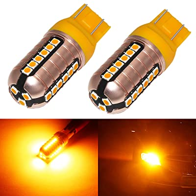 Phinlion 7444 Amber LED Turn Signal Light Bulbs 3000 Lumens Super Bright 3030 27-SMD Chips 992 7440 7443 LED Bulb for Turn Signal Blinker Lights, Orange Yellow: Automotive