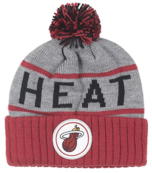 more photos 33f0e ff8a0 Image Unavailable. Image not available for. Color  Miami Heat Mitchell   Ness  NBA High 5 Gray Current Cuffed Knit Hat