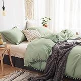 MOVE OVER 3 Pieces Green Duvet Cover Set Dark Green Bedding Ball Fringe Pattern Design Soft Dark Sea Green Bedding Set…