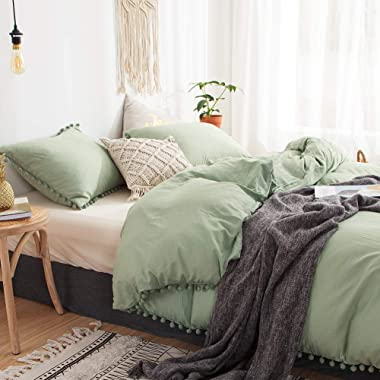 MOVE OVER 3 Pieces Green Bedding Dark Green Duvet Cover Set Ball Fringe Pattern Design Soft Dark Sea Green Bedding Sets King 1 Duvet Cover 2 Ball Fringe Pillow Shams (King, Dark Sea Green)