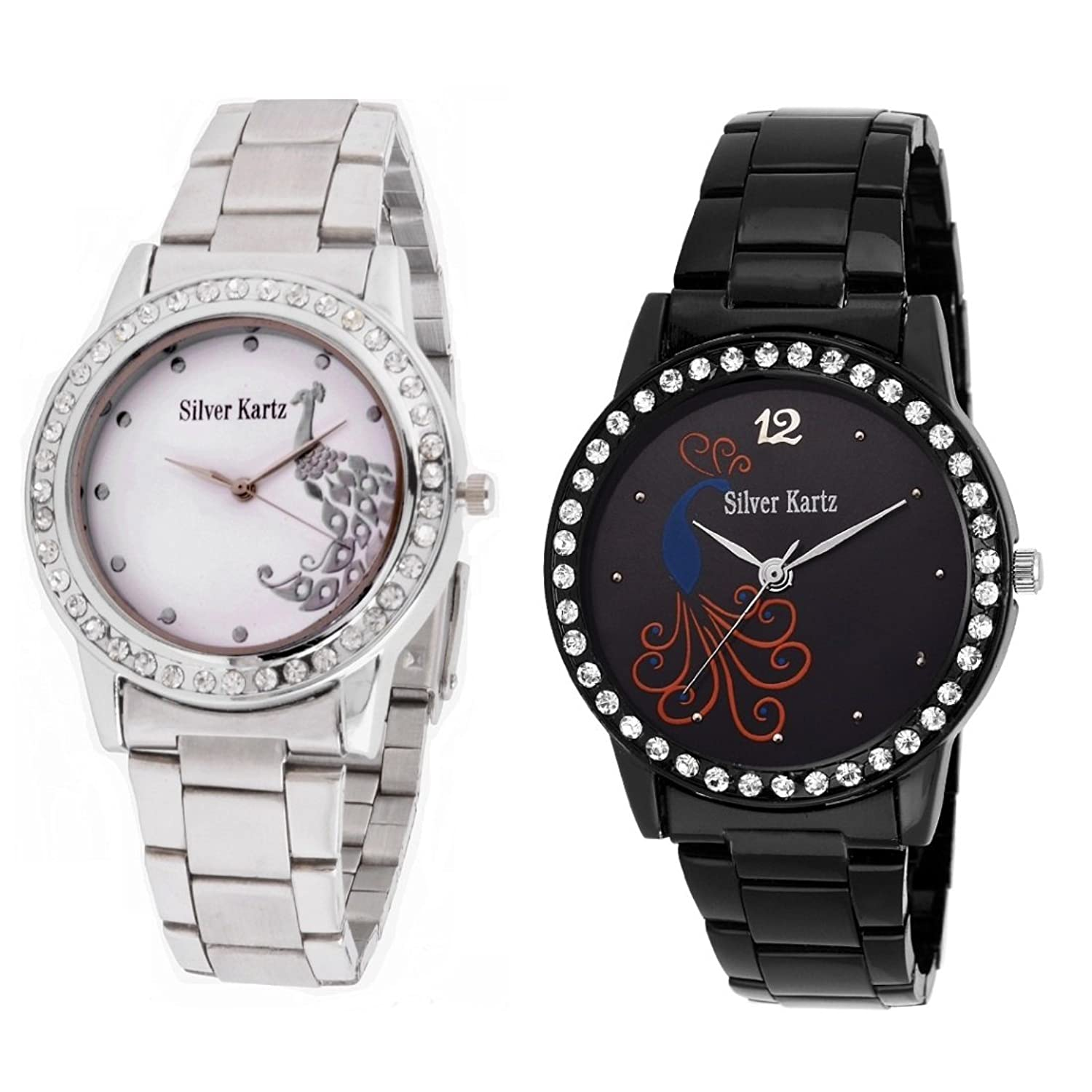 Buy Silver Kartz Analogue Silver, Black Dial Women\'S And Girl\'S ...
