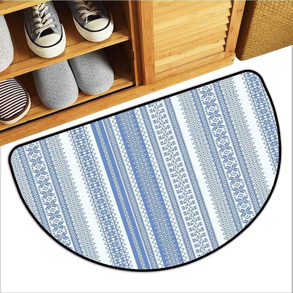 Vertical Geometric Pattern Embroidery Pattern Scandinavian Chevron Lines Flowers Blue Pale Blue, H16 x D24 Semicircle TableCovers/&Home All-Natural Rubber Doormats Nordic Custom Rugs for Kids Room