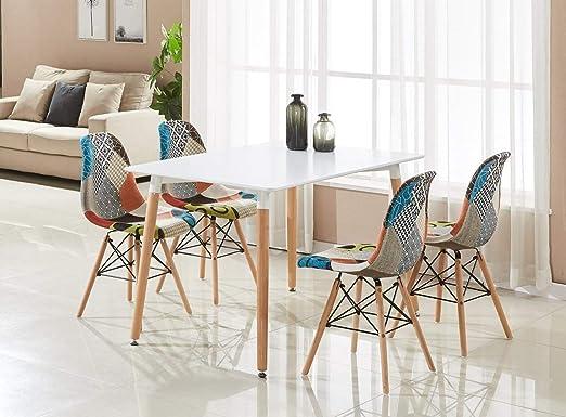 P&N Homewares - Juego de Comedor con Patchwork Eiffel (Mesa Blanca, sillas: Amazon.es: Hogar