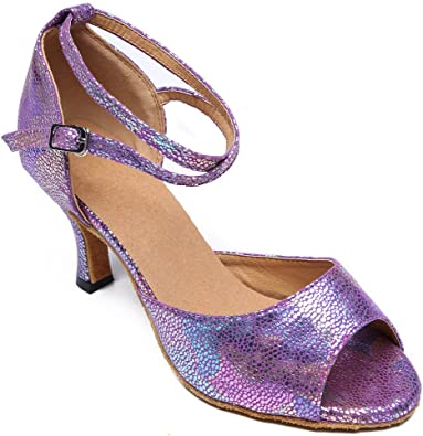 Pierides Womens Closed Toe Suede Sole Ballroom Pumps Dance Shoes with 2.75 Heel