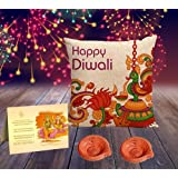 Happy Diwali Superior quality HD Printed Cushion , Greeting Card, Hand Made Diya and Sweets by Aart Store