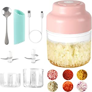 JENABOM Electric Garlic Chopper, 80W Mini Chopper Food Processor, Portable Garlic Mincer with USB Charging and Powerful Cutting, for Chop Onion Ginger Vegetable Pepper Spice Meat (100ML+250ML)