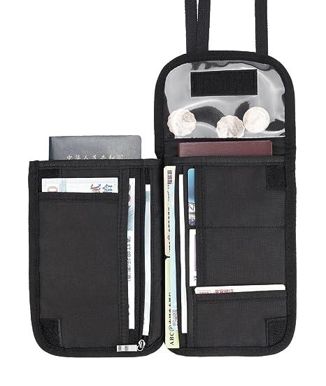MYEUSSN RFID Bloqueo de Pasaporte Titular de Viaje Billetera Cuello Bolsa de Múltiples Compartimentos Organizador de