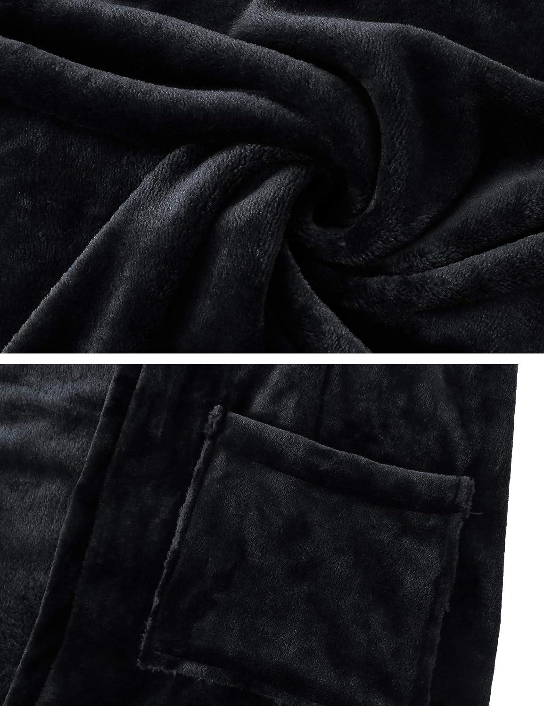Hawiton Mens Hooded Robe Plush Shawl Kimono Bathrobes Velour Nightgown Spa Robe for Winter