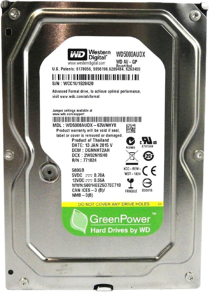 WESTERN DIGITAL WD5000AUDX AV-GP Green 500GB 32MB cache SATA 6.0Gb/s 3.5 internal hard drive (Bare Drive)