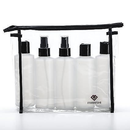 6 oz botellas de plástico con tapas y bombas para líquidos. Set de 5 en