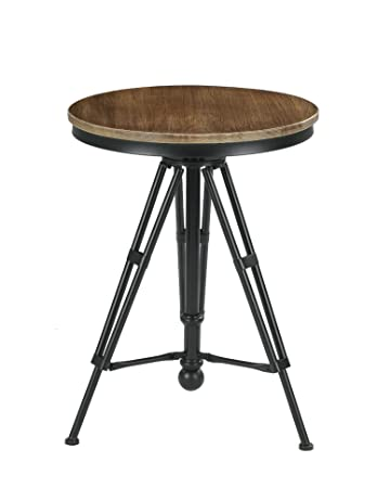 VILAVITA 30u0026quot; To 34u0026quot; Adjustable Height Swivel Round Wood Bar Bistro  Table, Wooden