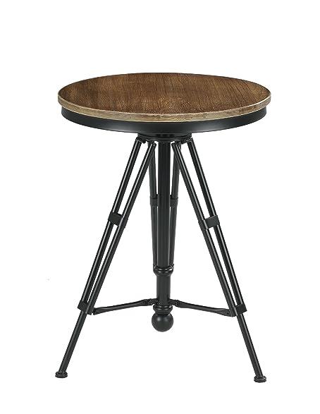 VILAVITA 30u0026quot; To 34u0026quot; Adjustable Height Swivel Round Wood Bar Bistro  Table, Wooden