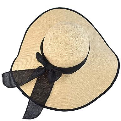 mifengdaer Straw Hat Floppy Summer Beach Hat Foldable Girls Bowknot Sun  Visor Large Wide Brim Sun 59e08ea04541