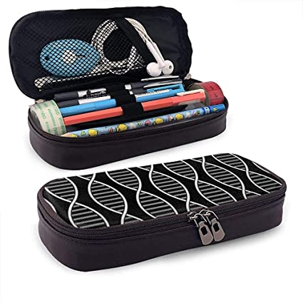 Estuche de lápices de ADN blanco - Estuche de lápiz de cuero PU de alta capacidad Organizador de papelería Bolsa de maquillaje cosmético: Amazon.es: Oficina y papelería