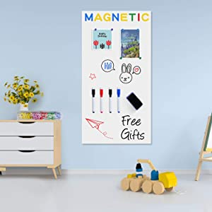 Board2by Magnetic Whiteboard Contact Paper, 40 x 17.3 Inch Self Adhesive Dry Erase Sticker for Wall, Removable White Board Wallpaper Roll with 42 Magnetic Letters for Kids, Classroom, Office