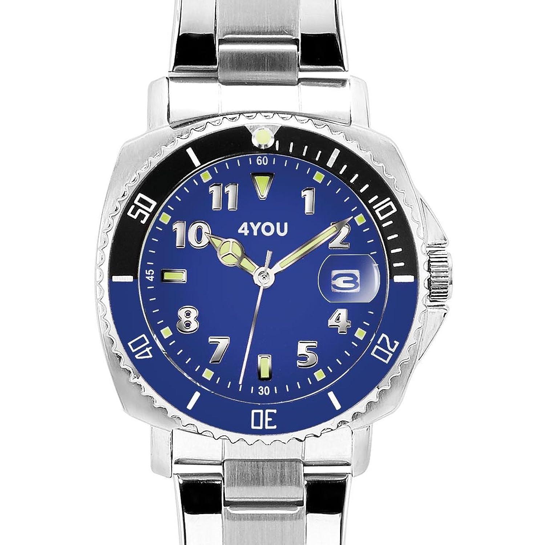 4 YOU Herren-Armbanduhr Analog Quarz Edelstahl 250006001