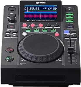 "Gemini MDJ Series MDJ-600 Professional Audio DJ Media Player with 4.3-Inch Full Color Display Screen, 5"" Jog Wheel, and Programmable Hot Cues"