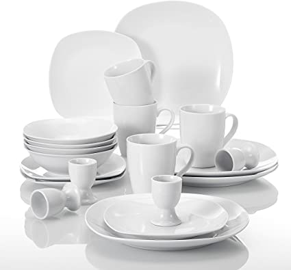 Malacasa Series Elisa 20 Piece Dinner Sets Ivory White Porcelain Breakfast Set With 4 Dinner Plate 4 Soup Bowl 4 Dessert Plate 4 Egg Cup 4 Mug Service For 4 Amazon Co Uk Kitchen Home