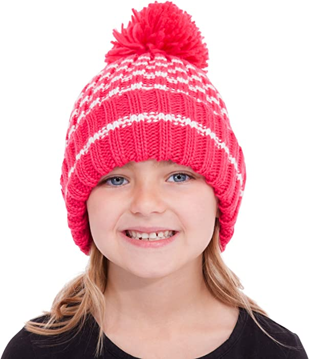 ac909b2395f Childs Girls Chunky Rib Knit Pink Pompom Bobble Beanie Hat Cream Stripe Age  3-6  Amazon.co.uk  Clothing