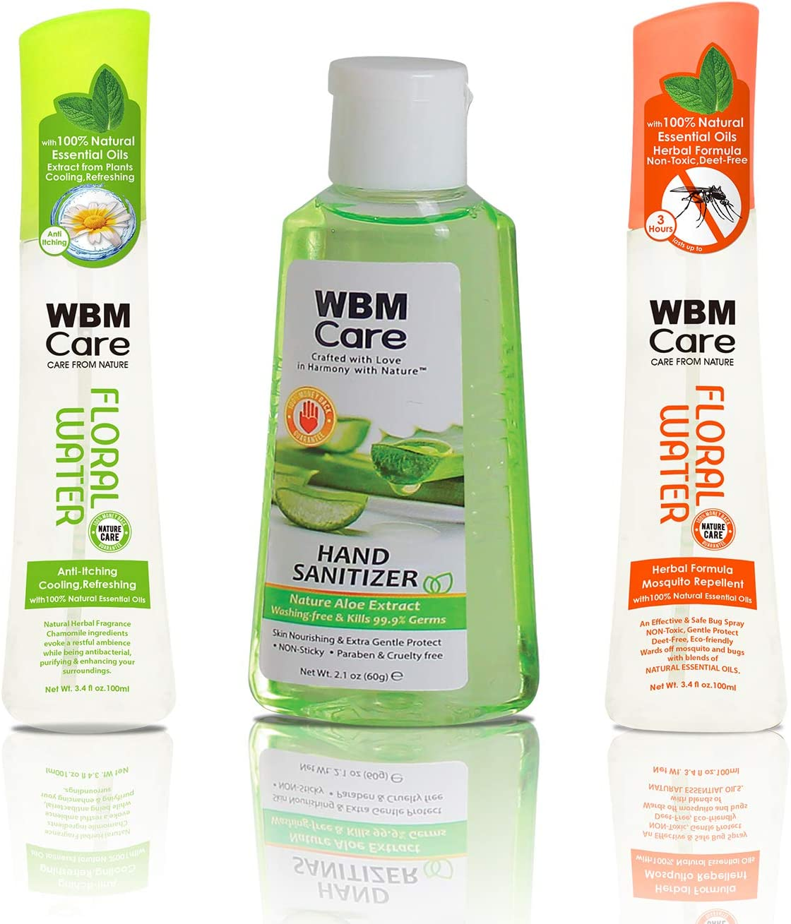 WBM Care Insect Repellent & Cooling Refreshing Anti Itch Pump Spray with Hand Sanitizer, Gift Set, (3 Pack)