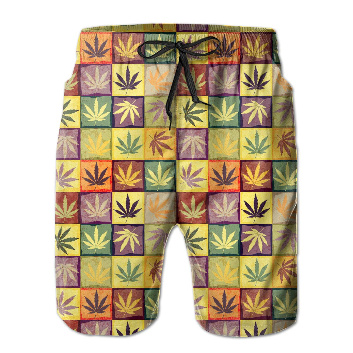 Retro Hemp Leaves Pattern Mens Fashion Board//Beach Shorts Casual Classic Pockets Swim Trunks