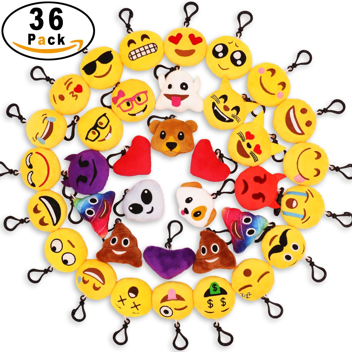 MelonBoat 36 Pack 2'' Emoji Plush Keychain Mini Pillows Backpack Clips, Emoticon Poop Emoji Birthday Party Favors Supplies, Goodie Bag Stuffers, Novelty Gifts Toys Prizes for Kids