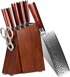 Professional Kitchen Knife Set with Block Wooden and Scissors Shears - YARENH Chef Knife Set Sharp 7 Piece - Japanese High Carbon Damascus Stainless Steel - Pakka Wooden Handle - Gift Box Packaging