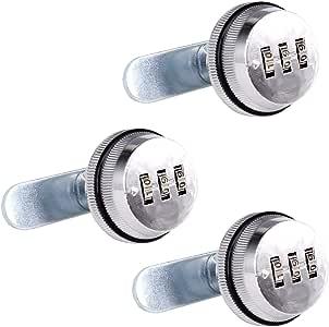 SPOTACT Combinacion Cam Lock Cerraduras De Seguridad Cromo Brillante Generador Cerradura Codificada Para Caja De Aleacion De Zinc Gabinete (3 Pack)