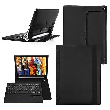 Yoga Tab 3 Pro 10 teclado funda, Cubierta Teclado Bluetooth Cubierta de La Caja Protectora De Folio para Lenovo Yoga Tab 3 Pro 10 inch - QWERTY - US, ...