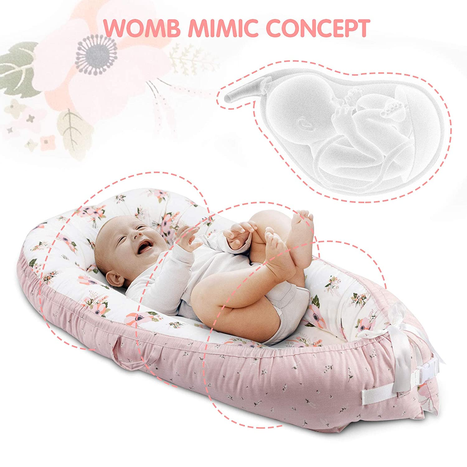Baby Lounger /& Baby Nest Pink Blossom Portable Newborn Lounger for Baby Bassinet Reversible Infant Lounger Bed Durable and Machine Washable Adjustable Bed for Babies Aged 0-12 Months