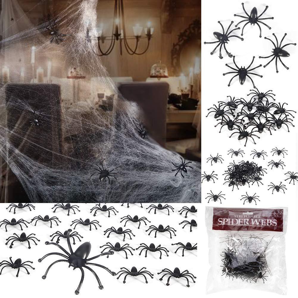 Twister.CK Halloween Spider COB Web Estensibile con 24 Grandi Ragni Finti per la Decorazione a Tema di Halloween