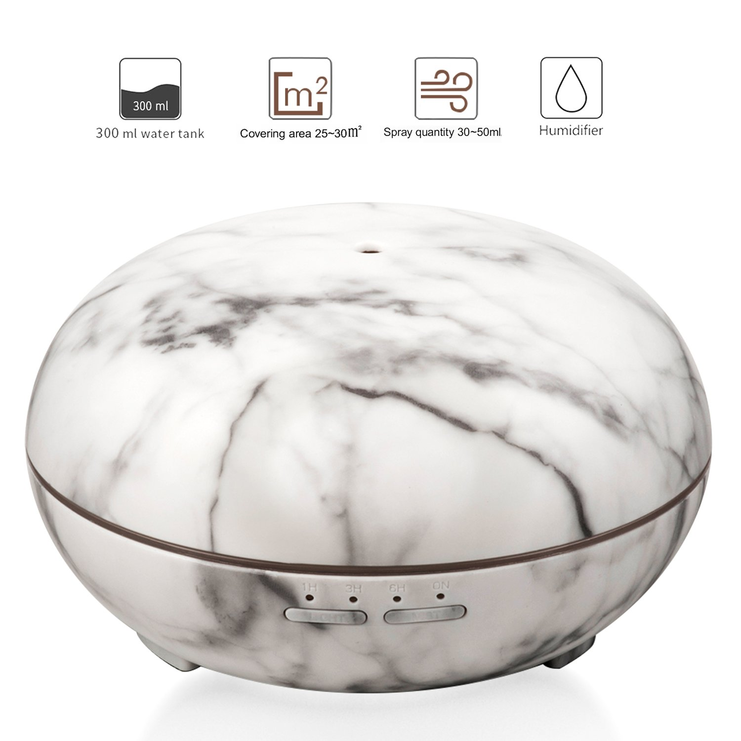 Innens Aroma Essential Oil Diffuser (300ml), Ultrasonic Air Purifier Cool Mist Humidifier with 7 Colorful Changing and Waterless Auto Shut-Off Made for Home/Bedroom/Office (Imitation White Marble) by Innens