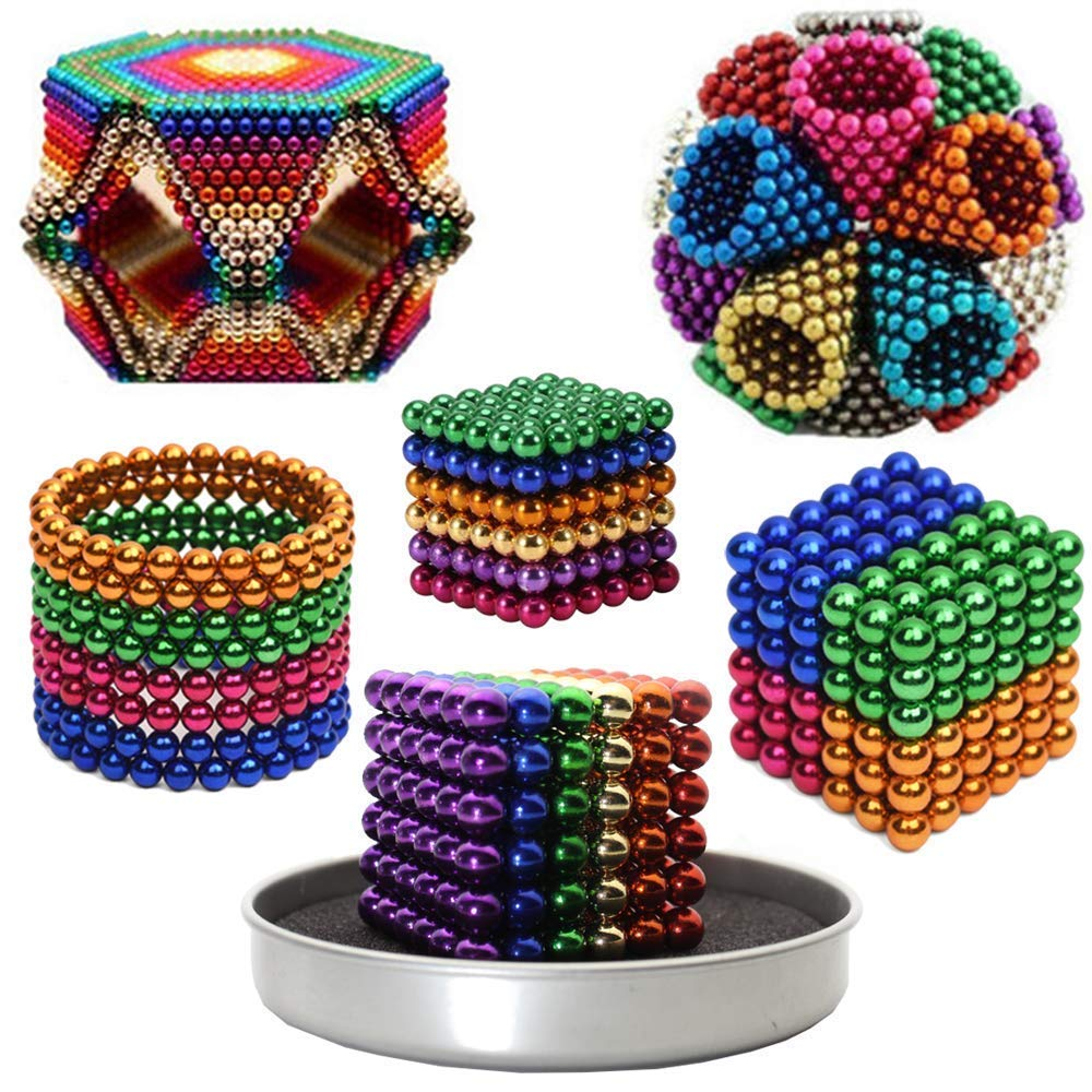 Ixir 5MM Magnetic Ball Set for Office Stress Relief Desk Sculpture Toy Perfect for Crafts, Jewelry and Education Magnetized Fidget Cube Provides Relief for Anxiety, ADHD, Autism, Boredom Mixed