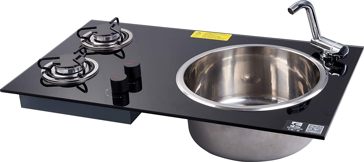 GR-215 Boat Caravan Camper 2 Buner LPG Gas Stove Hob and Sink Combo with Tempered Glass 730430150mm (Sink Stove and Faucet)
