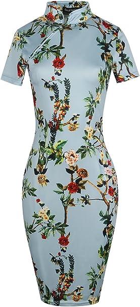 Amazon.com: Oxiuly OX183 vestido informal ajustado, de ...