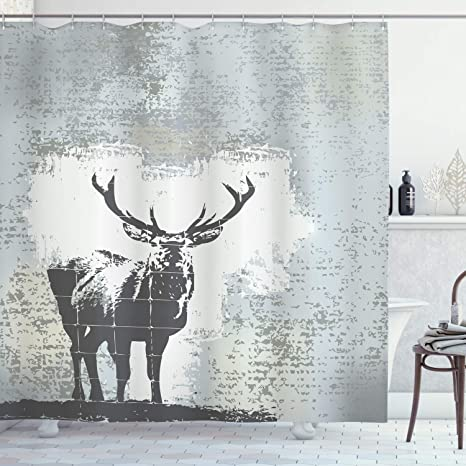 Amazon Com Ambesonne Antlers Shower Curtain Standing Stag Silhouette Grunge Style Background Shadow Monochromic Illustration Cloth Fabric Bathroom Decor Set With Hooks 84 Long Extra Black Grey Home Kitchen