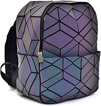 Women Geometric Luminous Backpack Female Travel Bags For School ...