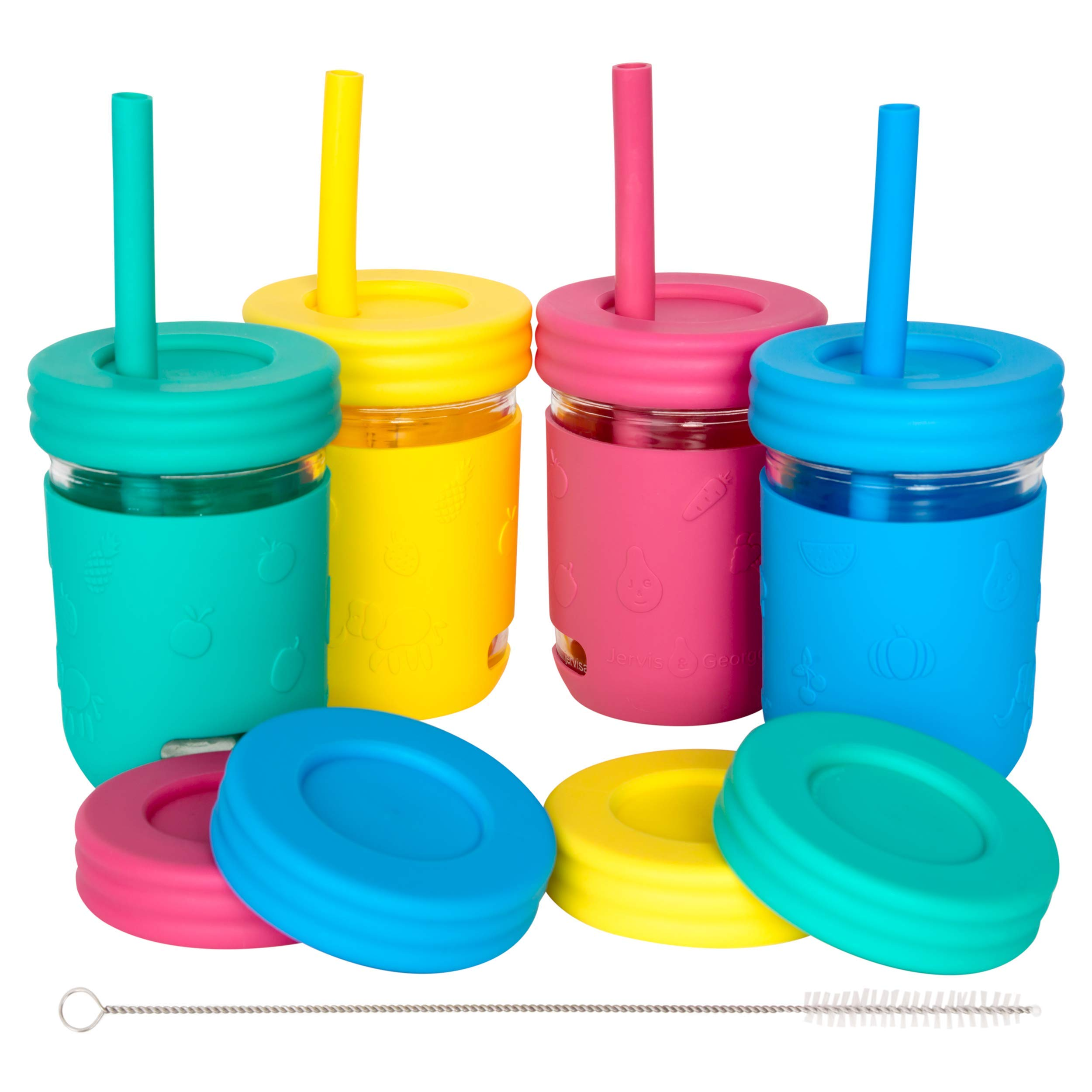 Kids 8oz Glass Mason Jar Drinking Cups with Silcone Sleeves + Straw Lids + Leak Proof Regular Lids + Silicone Straws - Spill Proof, Sippy Cups for Toddlers, Kids Drinking Glasses, Food Storage-4 Pack