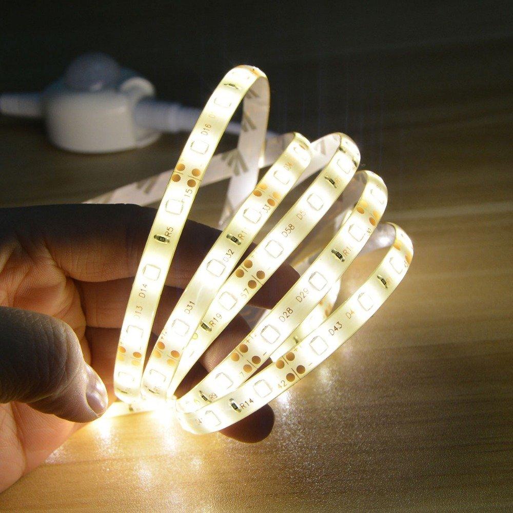 LED Nachtlicht PIR Bewegungsmelder K/üchenleuchte Klebeband IR Body Move Detection Ribbon Strip Lampe Flurbett Kleiderschrank Warmwei/ß 5M
