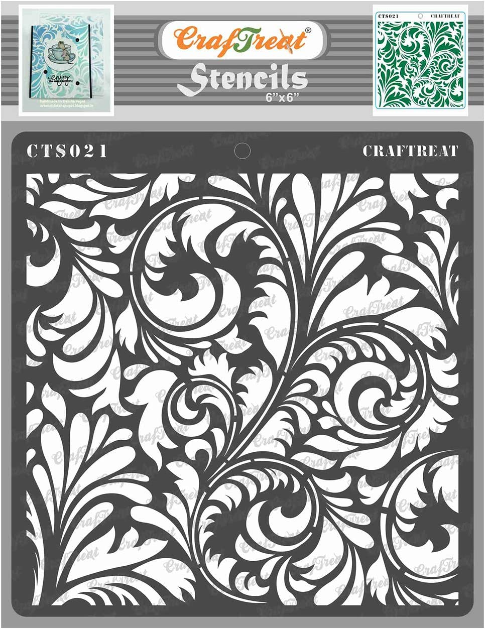 CrafTreat Floral Stencils for Painting on Wood, Canvas, Paper, Fabric, Floor, Wall and Tile - Flourish 2-6x6 Inches - Reusable DIY Art and Craft Stencils for Home Decor - Flourish Wall Stencil