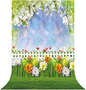 Funnytree Spring Happy Easter Eggs Backdrop Green Grassland Flower Photography Background Bokeh Fence Grass Floral Garden Baby Portrait Party Decorations Banner Photobooth Studio Props 5x7ft
