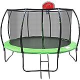 Jumbroo 12ft Enclosed Net Fiberglass Round Trampoline Basketball Hoop Bundled