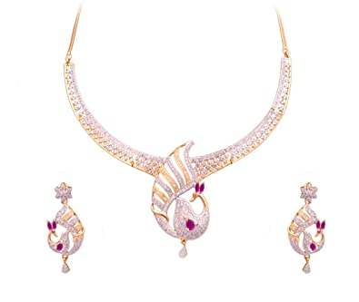 6dbae5267 Buy Sitashi White Gold Plated American Diamond Necklace Set for Women  Online at Low Prices in India | Amazon Jewellery Store - Amazon.in