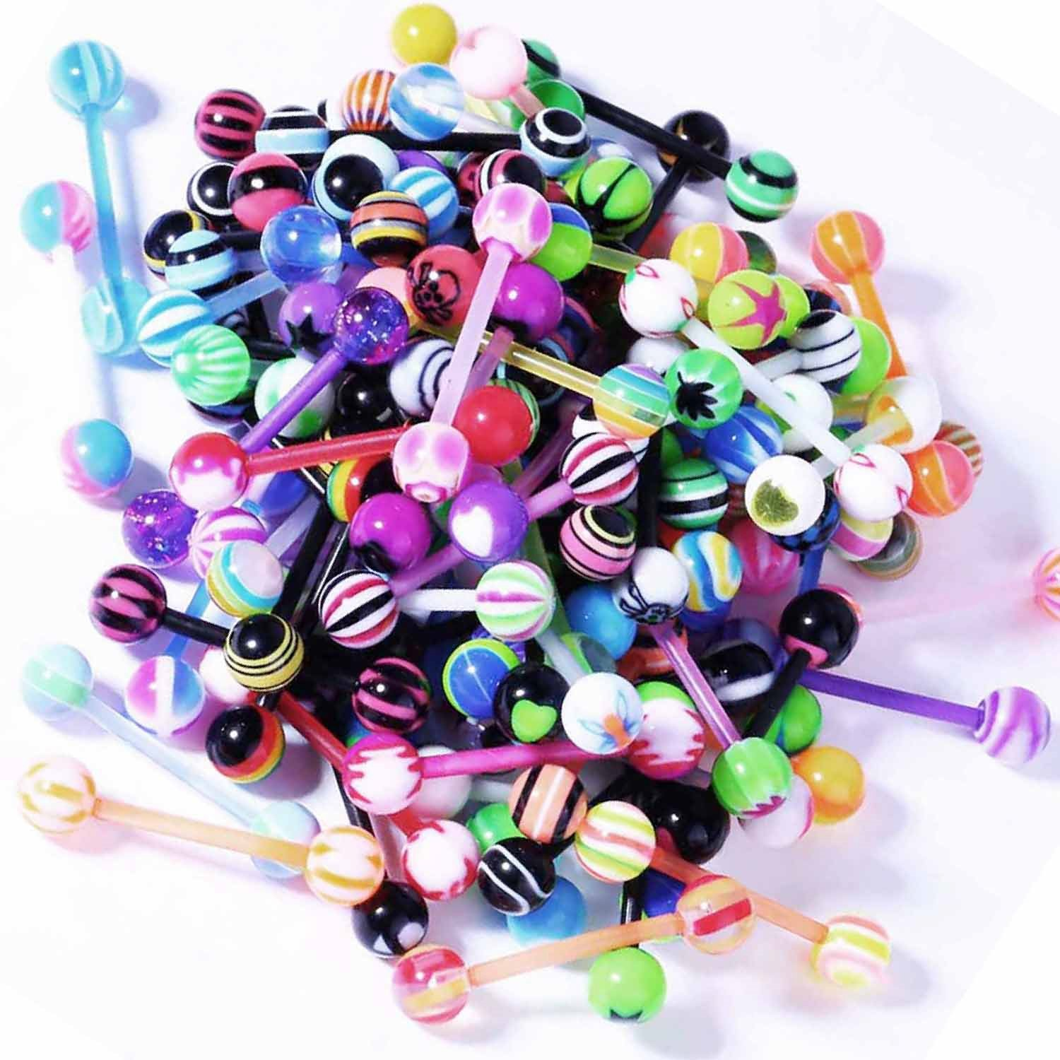 BodyJ4You 100PC 14G Mixed Tongue Rings Flexible Straight Barbell Body Piercing Jewelry Lot